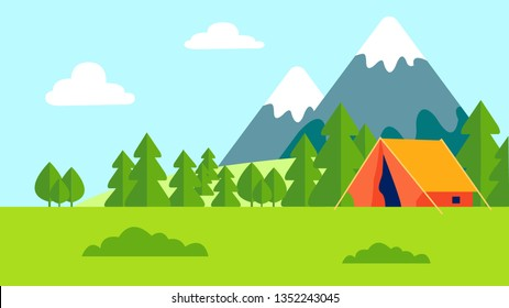Camping Outdoor Recreation Flat Color Illustration. Mountains Landscape. Camp, Tent on Meadow. Tree Forest Scenery, Blue Sky, Green Meadow. Nature Picnic, Hiking. Tourism, Holiday Countryside Travel