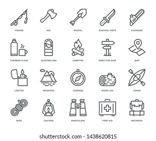 Camping and Outdoors Icons,  Monoline concept The icons were created on a 48x48 pixel aligned, perfect grid providing a clean and crisp appearance. Adjustable stroke weight.