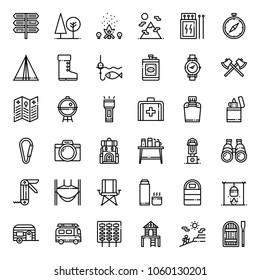 Camping outline icon set, business concept, isolated on white background