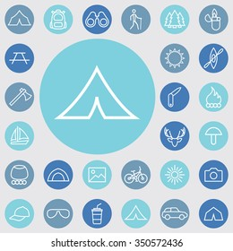 camping outline, thin, flat, digital icon set for web and mobile