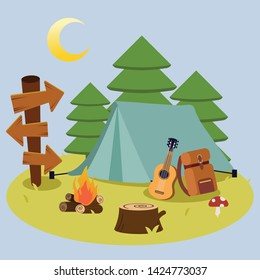 The camping pack set for go to the forest picnic trip and camping with the tent in the forest in flat vector style. Illustration for graphic,content, banner.