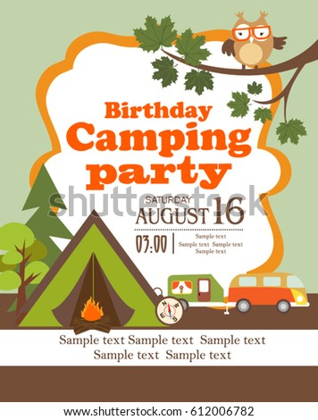 camping party invitation card stock vector royalty free 612006782