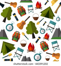 Camping pattern. Vector illustration in Flat Design Style for Web Banners or Promotional Materials. Tent, map, compass, backpack, flashlight, fire, guitar, shovel, the mountains. Camping equipment.