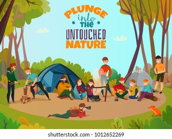 Camping people poster doodle style composition with group of human characters hanging out in the forest vector illustration
