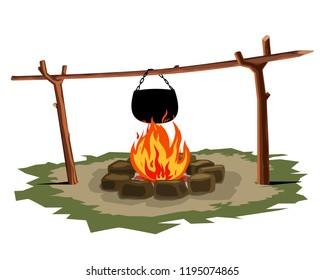 Camping pot over a bonfire