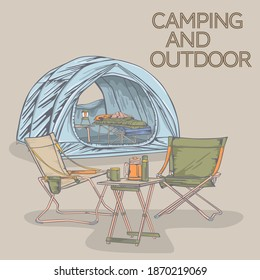 Camping products! camping bed, tent, chair, table, sleeping bag. Vector illustration