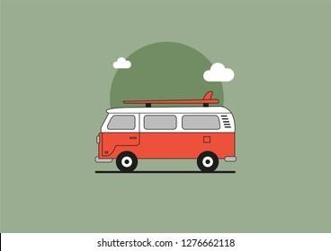 Camping, road trip, summer, caravan etc. themed flat vector illustration.
