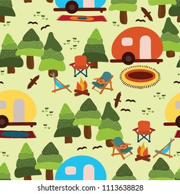 Camping scene - caravan, camping chairs, fire place, rugs, trees, birds. Seamless vector pattern.