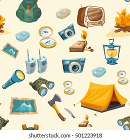 Camping seamless pattern outdoor recreation adventures vector illustration