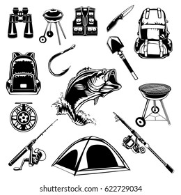 Camping set of back pack, jacket, binoculars, shovel, fishing rod, knife, fishing reel, back pack, hook, grill bbq and bass fish vector illustration.