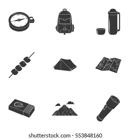 Camping set icons in black style. Big collection of camping vector symbol stock illustration