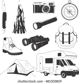 Camping set with things to travel with isolated vector illustration, items collection for camping, hiking and recreation activity, things for tourism, tourist tent, compass, equipment