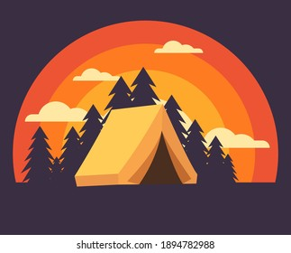 camping site on evening sunset vista vector drawings with pine trees and red sky