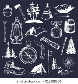 Camping sketched elements. Vector set of vintage hand drawn tourism illustrations. Outdoor adventures collection for emblems, badges, labels etc.