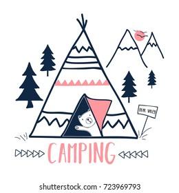 camping and sweet bear hand drawing vector.