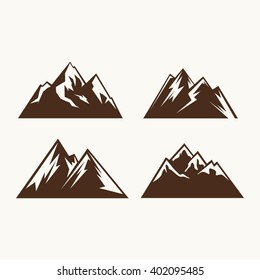 Camping symbols. Abstract high mountain icon set