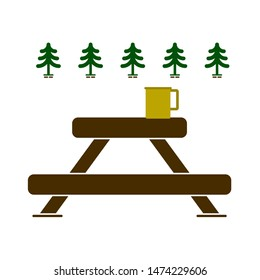camping table icon. flat illustration of camping table vector icon. camping table sign symbol