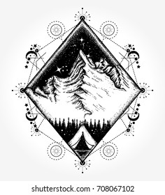 Camping tattoo and t-shirt design. Symbol of tourism, travel, adventures, meditation, climbing, camping, great outdoors