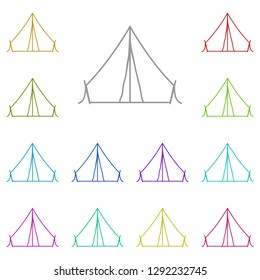 Camping tent icon in multi color. Simple thin line, outline vector of Camp icons for UI and UX, website or mobile application