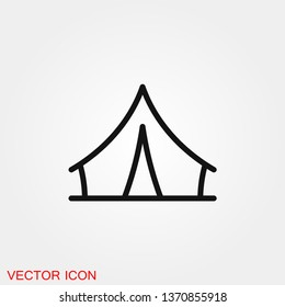 Camping tent icon vector sign symbol for design