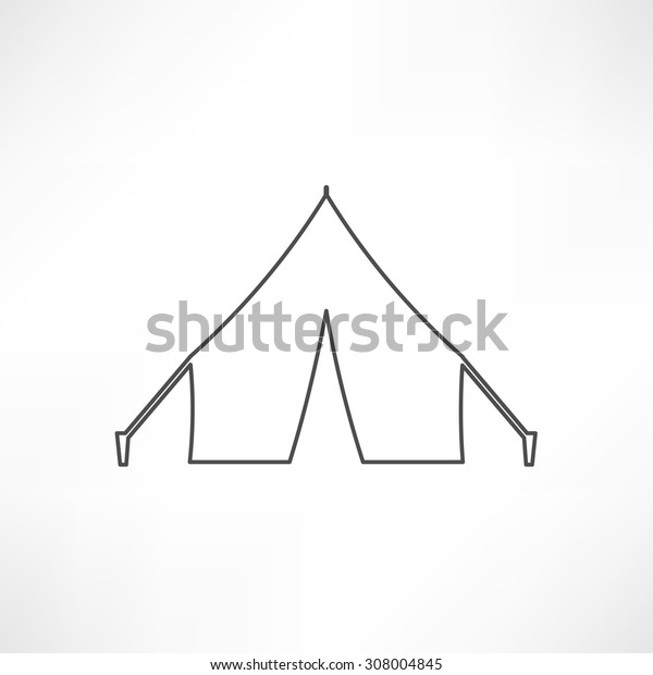 camping tent line icon