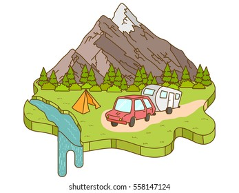 Camping tent near the mountains in the background. Motorhome car traveling on the road