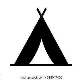 Camping tent at outdoor camp or tipi / teepee flat vector icon for apps and websites