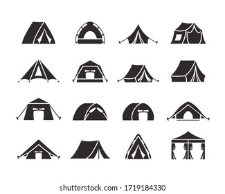 Camping tent silhouette set. Tourist tent with a canopy, reinforced with a rope with a peg, the shape of a nylon hemisphere dome, monochrome, a symbol of open travel and relaxation. Vector graphics.