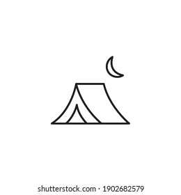 Camping, tent simple thin line icon vector illustration
