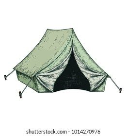 Camping tent for tourism, cartoon sketch illustration of travel equipment. Vector