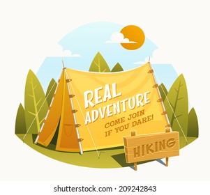 Camping Tent. Vector illustration.