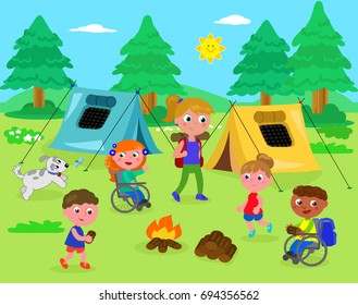Camping tents in nature with people and children in  wheelchair vector illustration