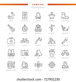 Camping Thin Line Icons Set