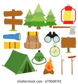 Camping Things In White Background