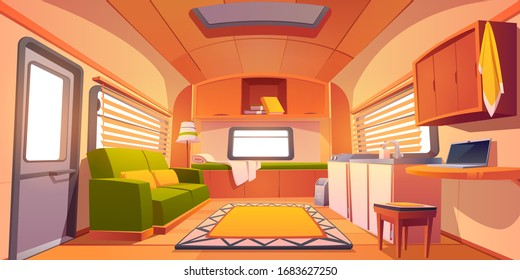 Camping trailer car interior with bed, couch, sink, desk with laptop, bookshelf and jalousie on windows. Rv motor home room inside view, cozy place for living and sleeping, Cartoon vector illustration