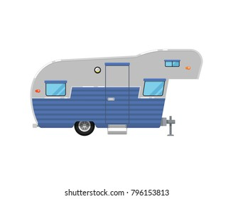 Camping trailer caravan isolated on white icon. Mobile home for country and nature vacation. Side view recreational vehicle van vector illustration in flat syle.