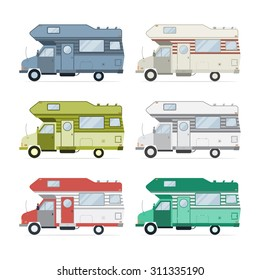 Camping trailer family caravan collection. Set of recolored traveler truck camper flat style icons isolated on white. Vector vacation traveler truck motorhome RV illustration.