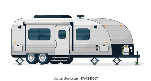 Camping trailer. Isolated camper vehicle mobile home trailer with windows, door and gas bottle. Vector camping RV car for travel and vacation transportation