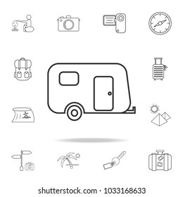 Camping trailer line icon. Set of Tourism and Leisure icons. Signs, outline furniture collection, simple thin line icons for websites, web design, mobile app, info graphics on white background