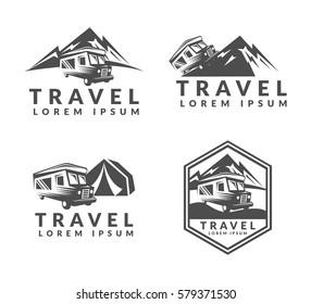 Camping trailer truck logo. RV cars, Vehicles Camper Vans Caravans icon. Off-road car logo. Adventure, Travel, Expedition sign. Suv car emblems, badges. Mountains, Nature sign.