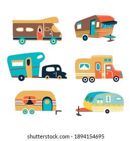 Camping trailers, set of travel caravans for camper. transport for tourism. Vector illustration. Cartoon