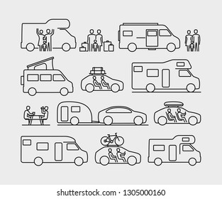 Camping Travel Cars Vector Icons. Set of  Recreational Vehicles