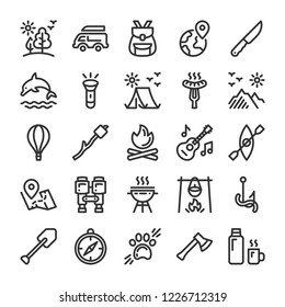 Camping, travel and picnic icons set. Line style