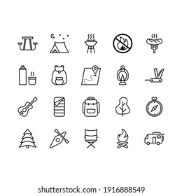 Camping, travel and picnic icons set. Line style icons for web and ui desig. Contains such as tent, compasses, mountain and other camping equipment. Suitable for campsites, camp fires and adventures.
