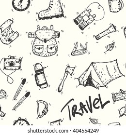 Camping travel seamless hand drawn doodle pattern