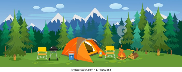 Camping travelling picturesque landscape vector illustration. Template with beautiful view on meadow of tourists camp with tent, campfire, bbq and chairs on mountain and forest background