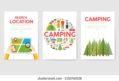 Camping trip cards set. Hiking template of flyear, magazines, posters, book cover, banners. Trave tourl infographic concept background. Layout illustrations template pages with typography