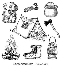 camping trip, outdoor adventure, hiking. Set of tourism equipment. engraved hand drawn in old sketch, vintage style for label. backpack and lantern, tent and saucepan, axe and boots, lantern and fire