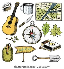 camping trip, outdoor adventure, hiking. Set of tourism equipment. engraved hand drawn in old sketch, vintage style for label. guitar and bear step, map and compass, water and matches, cup and pointer