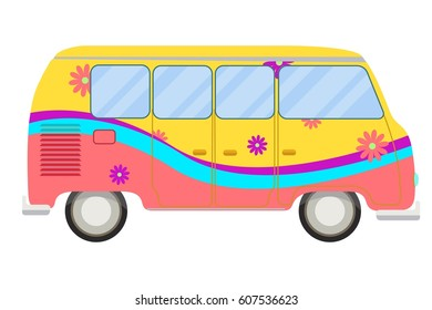 Camping van. Flat style illustration.
